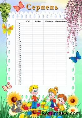 календар природи. шаблон для початкової школи