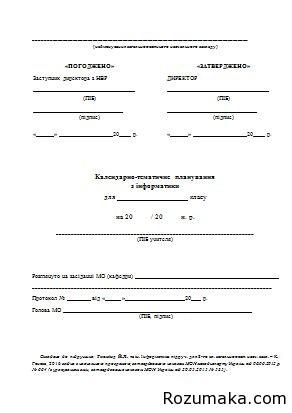 Календарно-тематичне планування Інформатика 8 клас. Ривкінд