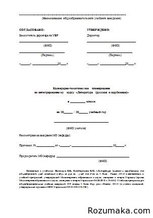 Календарно-тематичне планування Литература 8 клас. Волощук