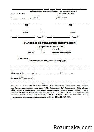 Календарно-тематичне планування з української мови у 8 класі. Заболотний